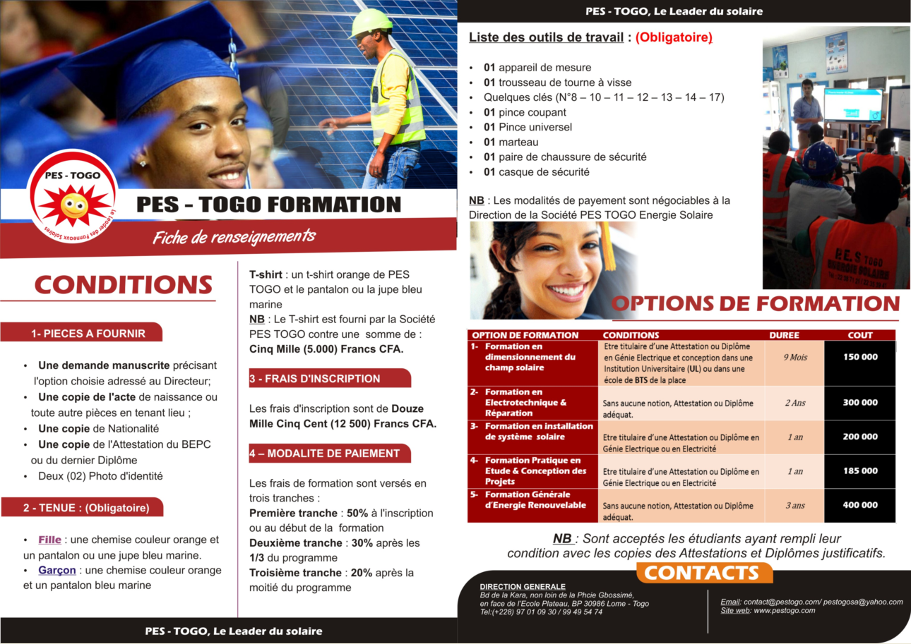 Fiche de Renseignements Formation & Stages